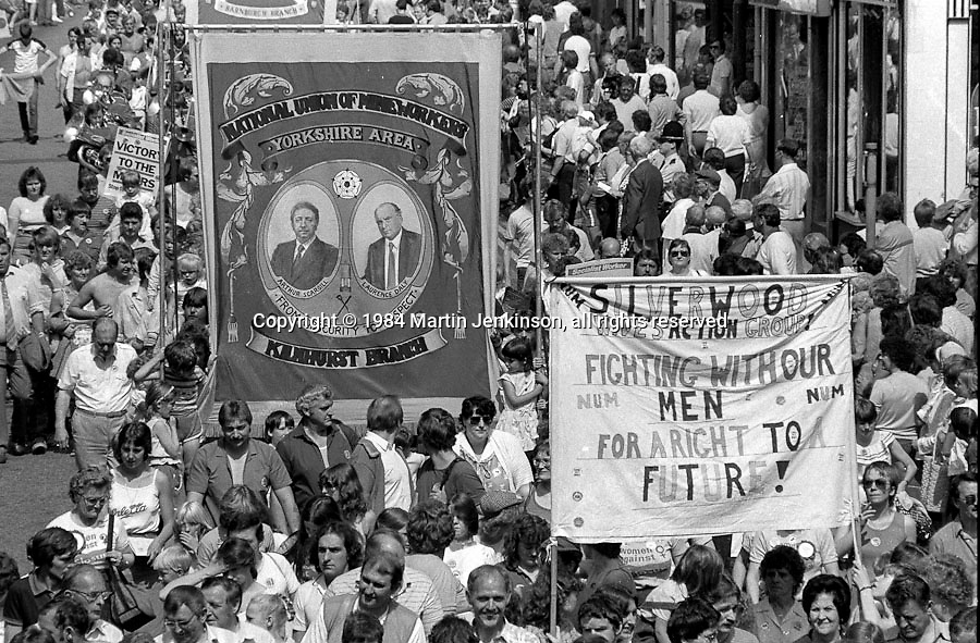 Silverwood Wives Action Group and Kilhurst banners, 1984 Yorkshire Miner's Gala. Wakefield.