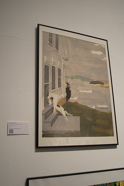 Fairfield Porter<br /> (American (Winnetka, Ill., 1907-1975, Southampton, N.Y.)<br /> &ldquo;Dog at the Door&rdquo;<br /> 1982.002.005<br /> <br /> The fourth child of a wealthy and progressively inclined family, Fairfield Porter completed Harvard College as an art history student. After a few years of traveling in Europe and visiting museums, he married and settled in New York, where for two decades he studied painting, worked for socialist causes and cared for his autistic son. During the depression, the family lived in his parent&rsquo;s home in Chicago until the death of his father, when they returned to New York. During World War II, Porter worked on industrial design projects for the Navy. While continuously developing his own craft as a painter, he began writing about art for Partisan Review in 1947, and in 1951 he became a regular reviewer for Art News and then for The Nation in 1959.<br /> Fairfield Porter had his first solo show in 1952 at the age of 45 and exhibited regularly and frequently in galleries and museums for the rest of his life. His paintings were most influenced by the placid, comfortable domestic intimacy of the French artists Pierre Bonnard and Edouard Vuillard and, he claimed, the work of abstract expressionist Willem de<br /> Kooning. Although a realist at the time when realism was considered controversial, Porter&rsquo;s brushy, light-filled work is unlike any of the defined styles of mid-century America. Most of it captures scenes and the non-events of bucolic summer days on the Maine island owned by the extended Porter clan or in Fairfield Porter&rsquo;s home on Long Island, where he also painted relaxed portraits of his family and friends.<br /> <br /> Fairfield Porter taught at Skowhegan in 1964. &ldquo;Dog at the Door&rdquo; is characteristic of his most admired work.<br /> <br /> http://www.memphis.edu/amum/exhibitions/fairfield.porter.php