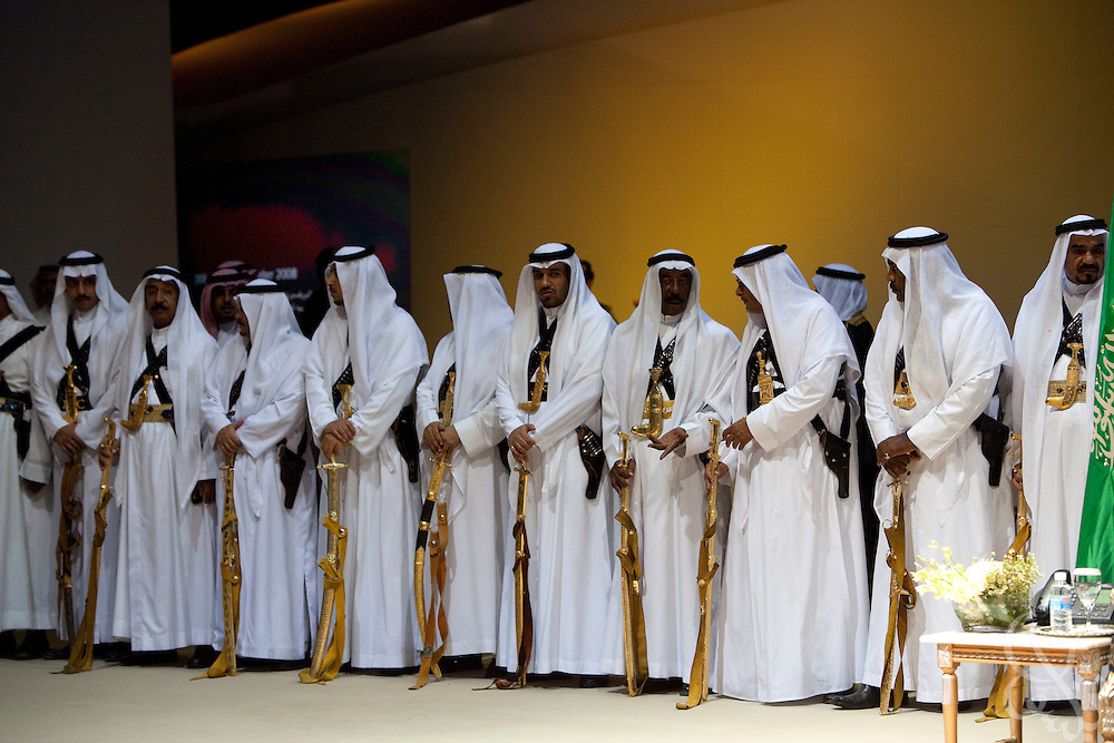 The ceremonial guards of King Abdullah Bin Abdulaziz Al Saud, Custodian of the Two Holy Mosques stand in formation behind the king as he greets guests during the inauguration of King Abdullah University of Science and Technology (KAUST) on September 23, 2009, in Thuwal, Saudi Arabia (80 kilometers north of Jeddah). KAUST is a graduate-level research institution that has attracted top scientists and students from around the world. (Photo by Scott Nelson)..
