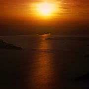 Aerial view of sunset over the lower Chesapeake Bay on the Rappahannock River, Virginia