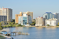 USA: Florida: Sarasota County: City of Sarasota: Sarasota downtown skyline view from John Ringling Causeway Bridge. recently named a great waterfront to visit by USA Today