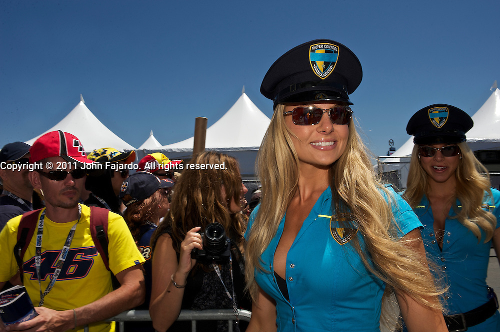 Team Rizla Suzuki Umbrella Girls during the Redbull U.S. MotoGP at Mazda Raceway Laguna Seca, Salinas, Calif., Sunday, July 24, 2011.