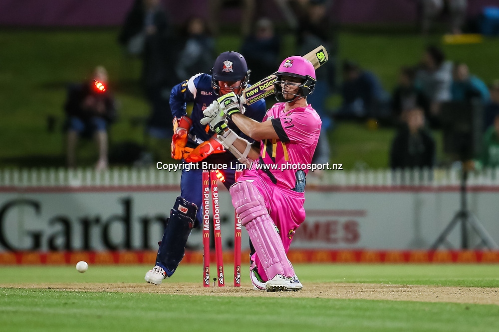 Knights' Mitchell Santner is bowled during the McDonalds Super Smash T20 cricket match - Knights v Aces played at Seddon Park, Hamilton, New Zealand on Saturday 17 December.<br /> <br /> Copyright photo: Bruce Lim / www.photosport.nz