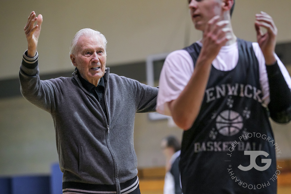 Johnny Bach helps watch over practice as an assistant coach for Fenwick's varsity boys basketball team, Monday, Jan. 9, 2012, in Oak Park, Ill. Bach, the former longtime Chicago Bulls assistant coach during Phil Jackson's tenure, is helping out during practices but chooses to watch games from the stands to avoid causing distractions for head coach John Quinn.