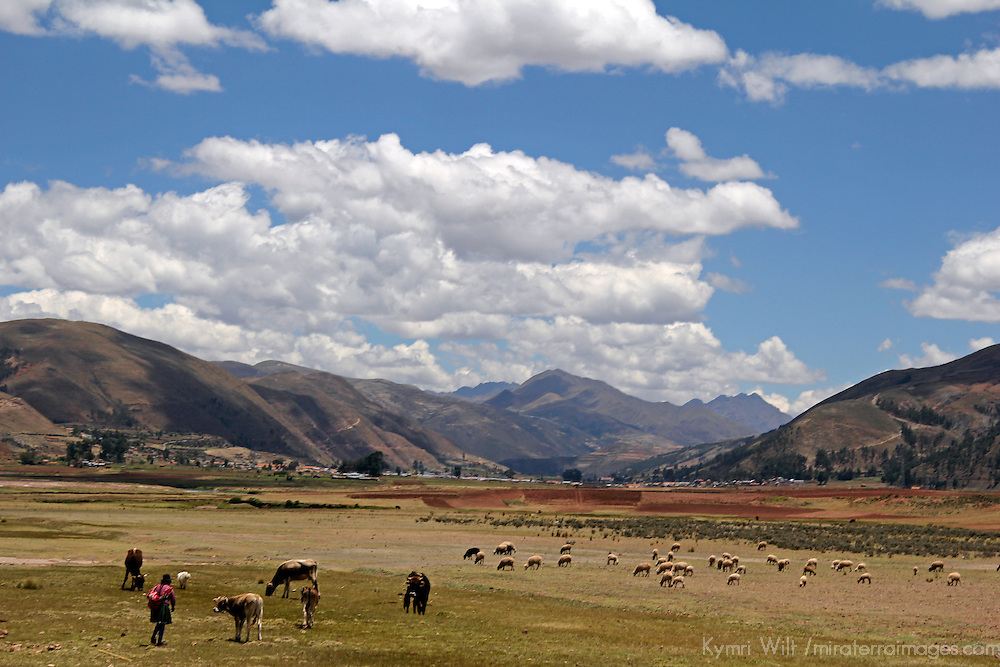South America, Peru. The scenic skies of the high Andes, en route between Cusco and Puno.