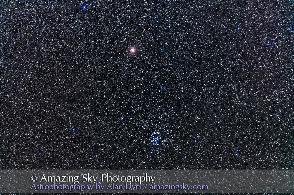 The Diamond Cluster NGC 2516 below the star Avior, or Epsilon Carinae, the bottom star of the False Cross. The cluster is a bright naked eye cluster. <br /> <br /> This is a stack of 4 x 2-minute exposures with the 200mm lens at f/2.8 and filter-modified Canon 5D MkII at ISO 2500. Tracked on the AP400 mount.