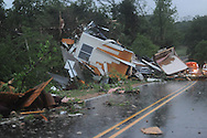 An unoccupied mobile home sets on East Long Street (CR 215) in Abbeville, Miss. early Sunday, May 2, 2010. A woman was killed in the storm.