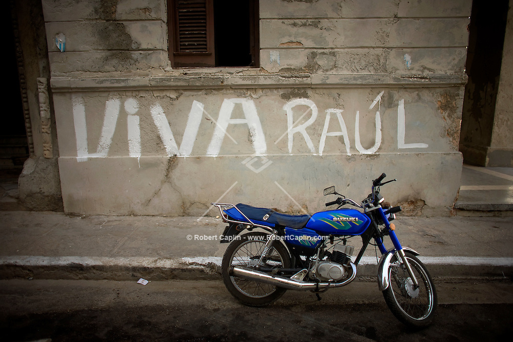 blue motorcycle in havana streets