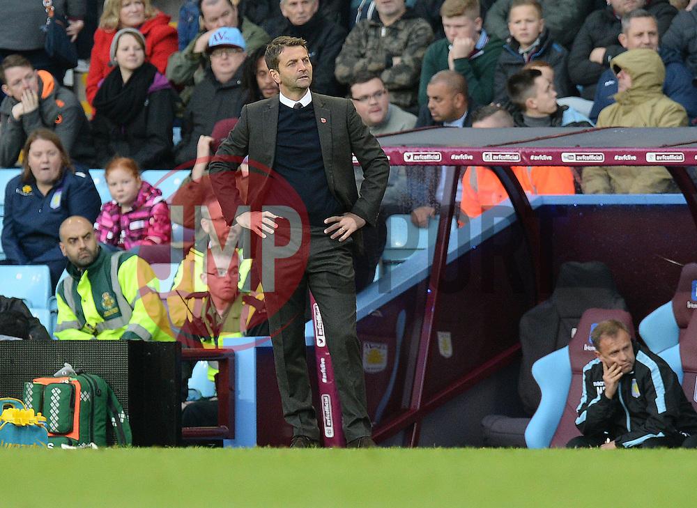 Aston Villa Manager Tim Sherwood stands on the touchline with his hands on his hips. - Mandatory byline: Alex James/JMP - 07966 386802 - 24/10/2015 - FOOTBALL - Villa Park - Birmingham, England - Aston Villa v Swansea City - Barclays Premier League