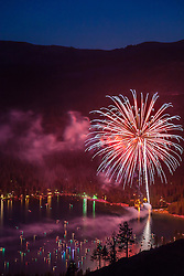 """Fireworks at Donner Lake"" - This fireworks display at the West end of Donner Lake was photographed from a mountainside on July 4th."