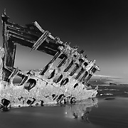 Peter Iredale Shipwreck - Sunset - Oregon Coast - HDR - Infrared Black & White