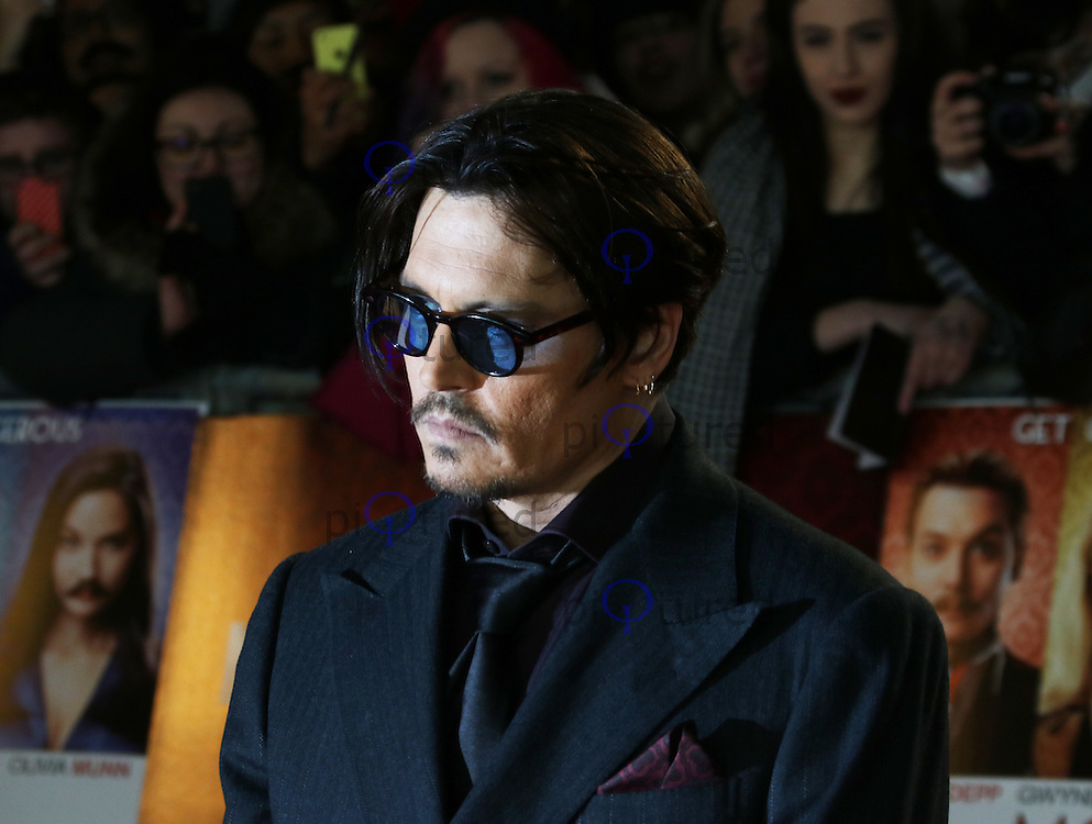 Johnny Depp, Mortdecai - UK film premiere, Leicester Square, London UK, 19 January 2015, Photo by Richard Goldschmidt