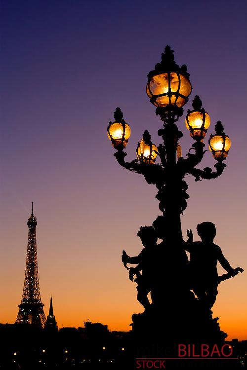 Eiffel Tower from Alexandre III bridge at sunset.<br /> Paris, France, Europe.