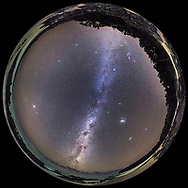 A 360&deg; fish-eye panorama of the southern hemisphere autumn sky, on March 31, 2017, taken from Cape Conran on the Gippsland Coast of Victoria, Australia at a latitude of 37&deg; South. <br /> <br /> Orion and Sirius are at top, oriented as we are used to seeing them in the northern sky in our winter season. Below Sirius is Canopus, and below it are the two Magellanic Clouds, Large and Small (LMC and SMC). At bottom along the southern Milky Way are the stars of Carina, Crux, and Centaurus, and the dark lanes of the Milky Way creating the &ldquo;Dark Emu&rdquo; rising out of the ocean. At far left is Jupiter. <br /> <br /> Some faint red airglow tints the sky. <br /> <br /> This is at stitch of 7 segments, each shot with the 14mm Rokinon lens, in portrait orientation, at f/2.5 for 45 seconds each, at ISO 3200 with the Canon 6D. Stitched with PTGui with spherical fish-eye projection.