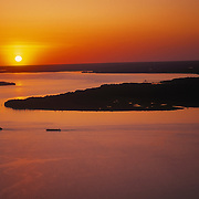 Sunset over the James River and historic Jamestown Island