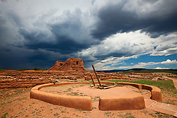 Kiva and church ruins at Pecos National Historical Park. Pecos, New Mexico.