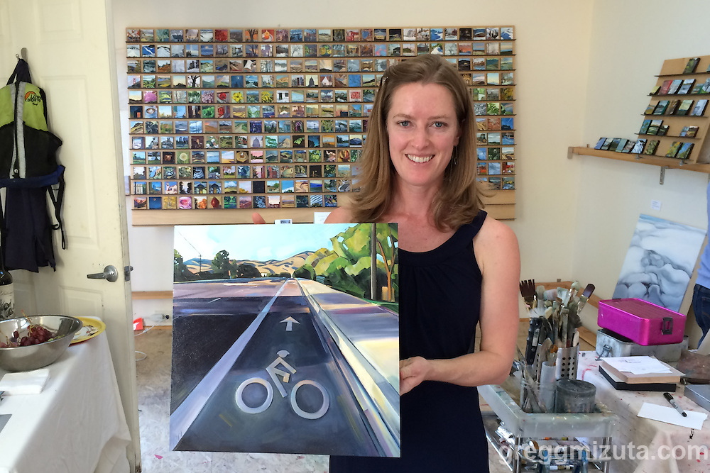 Rachel Teannalach holds her Intersection 10 (16&quot;x16&quot; oil on panel) in her North end Boise, Idaho studio on October 9, 2015.<br />