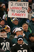16 Jan 2005: Eagles fans with Randy Moss sign during the Philadelphia Eagles 27-14 victory over the Minnesota Vikings at Lincoln Financial Field in Philadelphia, PA. <br />