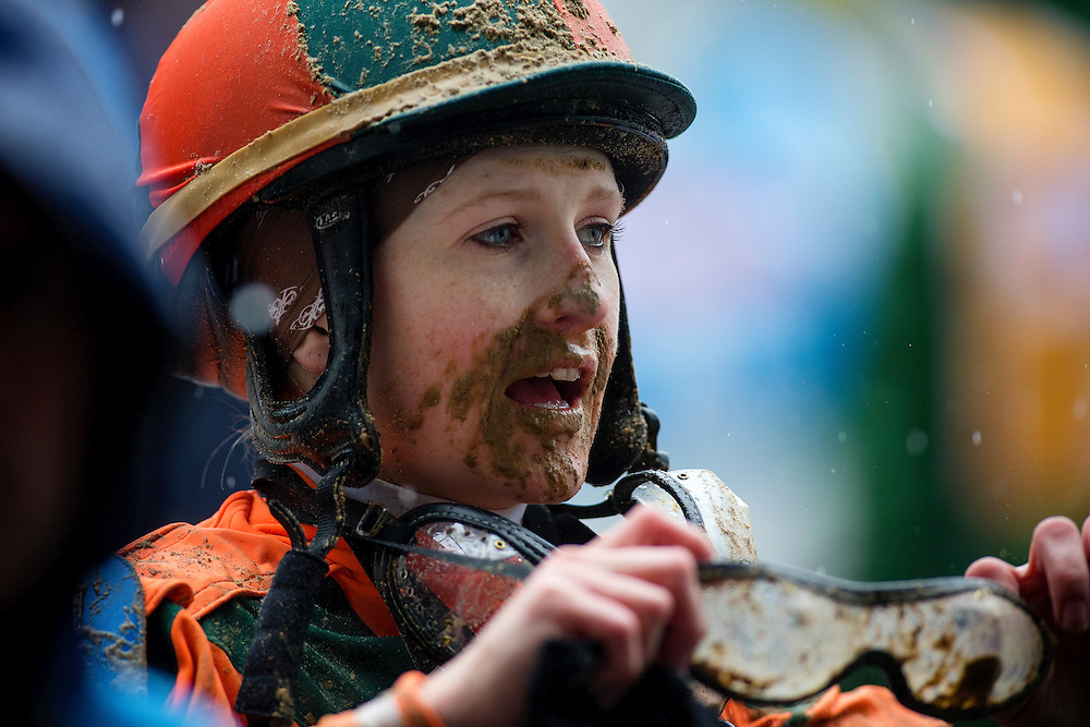 A muddy Rosie Napravnik after the Hummana Distaff at Churchill Downs in Louisville, KY on May 04, 2013. (Alex Evers/ Eclipse Sportswire)