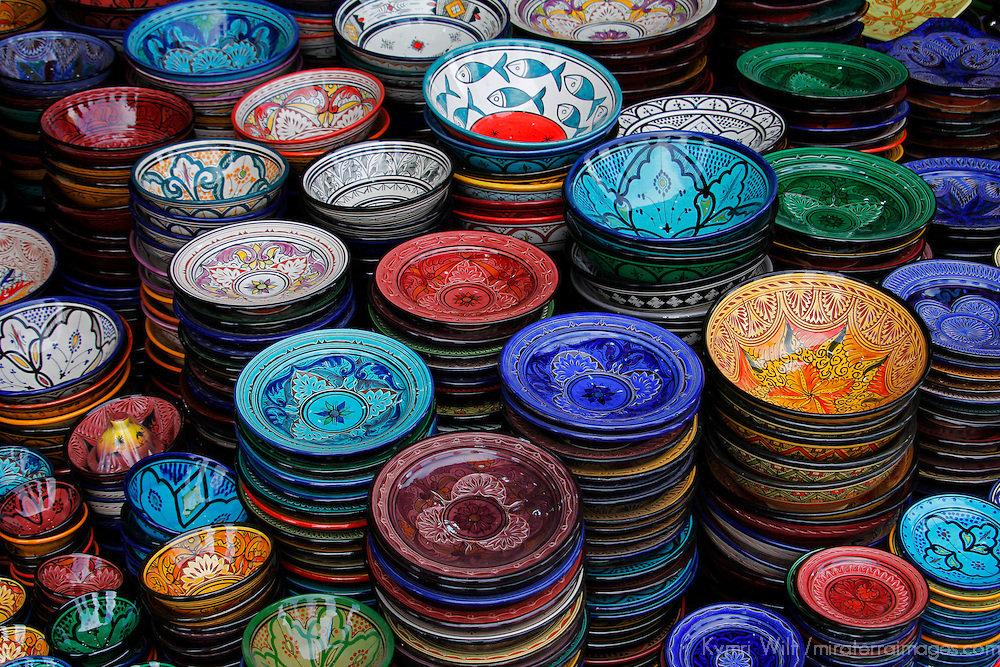 Africa, Morocco, Marrakech. Moroccan Hand-painted glazed ceramic dishes.
