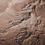Dendritic drainage patterns in the desert hills of Baluchistan on the Afghan border, Pakistan.