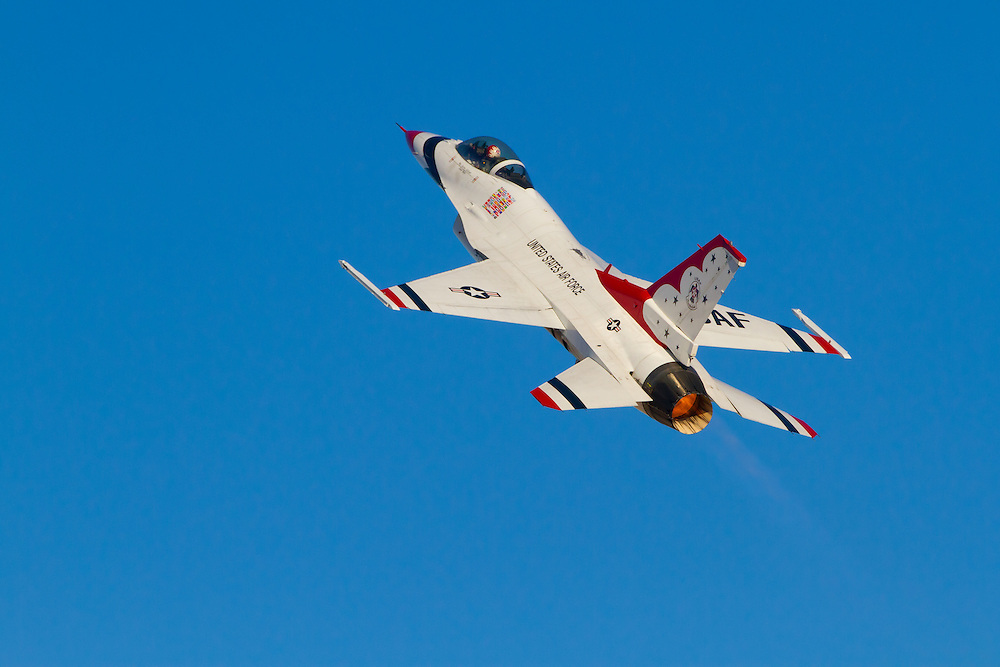Thunderbird number 5 (the Lead Solo) of the United States Air Force Air Demonstration Squadron, demonstrates the slow speed handling characteristics of the F-16C.