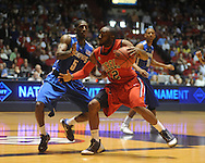 "Mississippi's Chris Warren (12) vs. Memphis's Willie Kemp (5) in NIT second round basketball action at the C.M. ""Tad"" Smith Coliseum in Oxford, Miss. on Friday, March 19, 2010. Ole Miss won 90-81."