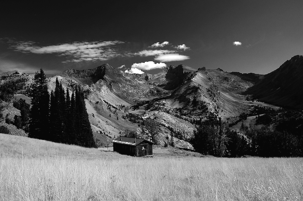 IDAHO. Pioneer Cabin. Pioneer Mountains. Sun Valley. Ketchum. Black and White. Also available in Color Panoramic