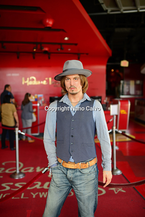 Johnny Depp´s wax sculpture at Madame Tussauds museum entrance, Hollywood Boulevard.