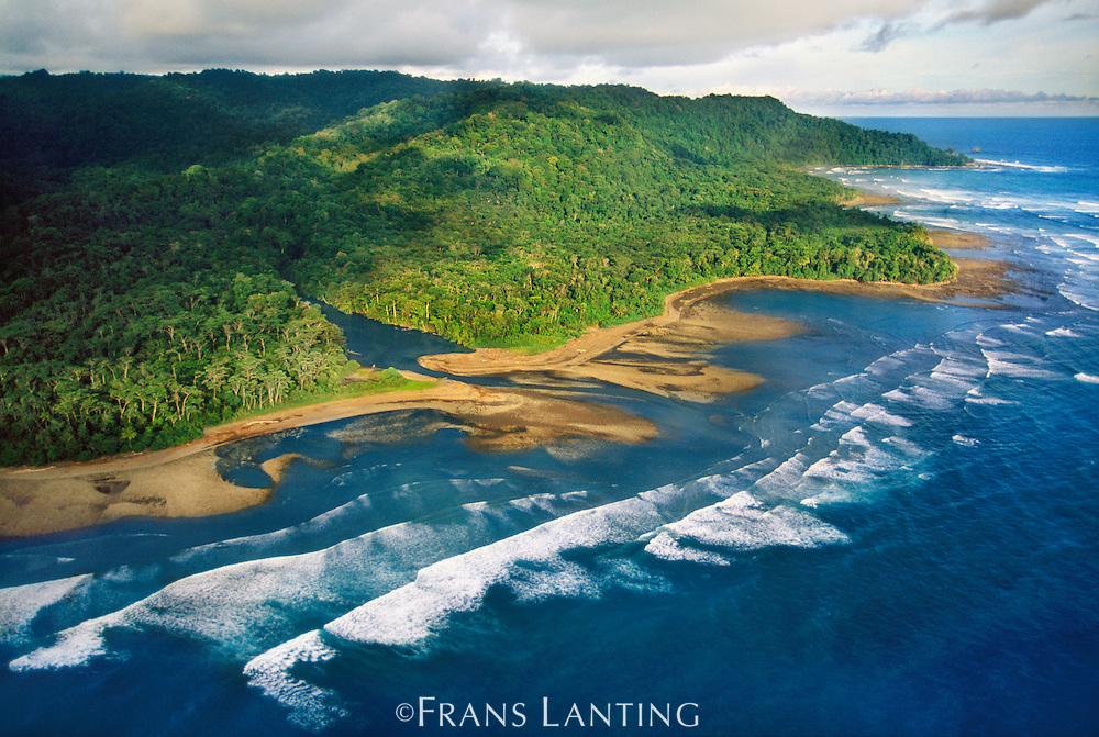 Rain forest coastline (aerial), Osa Peninsula, Corcovado National Park, Costa Rica