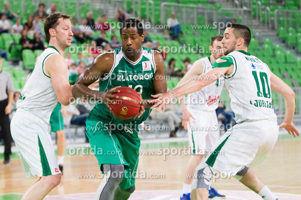 Chris Booker #10 of KK Zlatorog Lasko during basketball match between KK Union Olimpija and KK Zlatorog Lasko in semi-final of Nova KBM Champions League 2015/16, on May 23, 2016 in SRC Stozice, Ljubljana, Slovenia. Photo by Urban Urbanc / Sportida