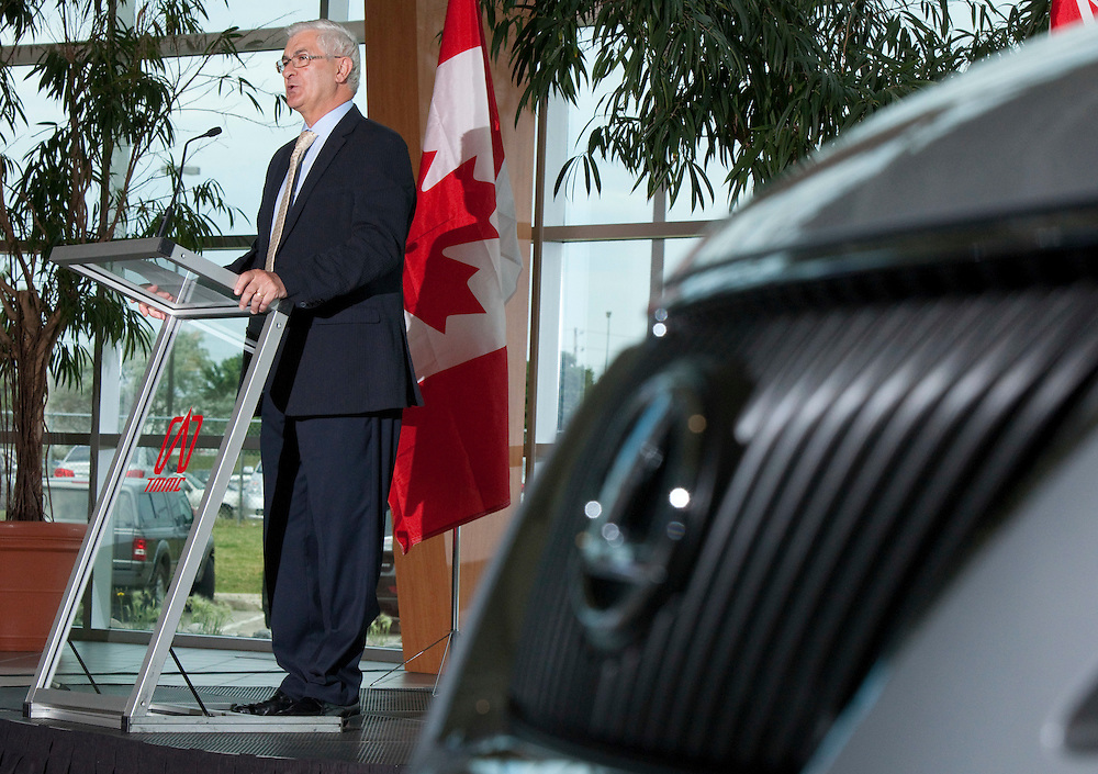 Ray Tanguay, Chairman of Toyota Motor Manufacturing Canada speaks at a press conference in Cambridge Ontario, Tuesday, July 5, 2011, announcing provincial and federal funding for improvements at the company's facilities in Ontario.<br /> THE CANADIAN PRESS/ Geoff Robins