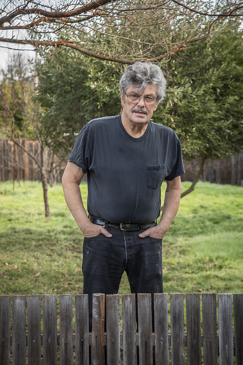 """""""There are a great many artists in this community and we don't talk to each other...we need to start talking.""""  -Oil painter and neighbor Paul Youngman stands in the backyard of his home on South Oak Street in Calistoga"""