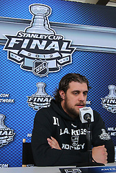 May 29; Newark, NJ, USA; Los Angeles Kings center Anze Kopitar (11) during Stanley Cup Finals media practice day at the Prudential Center.