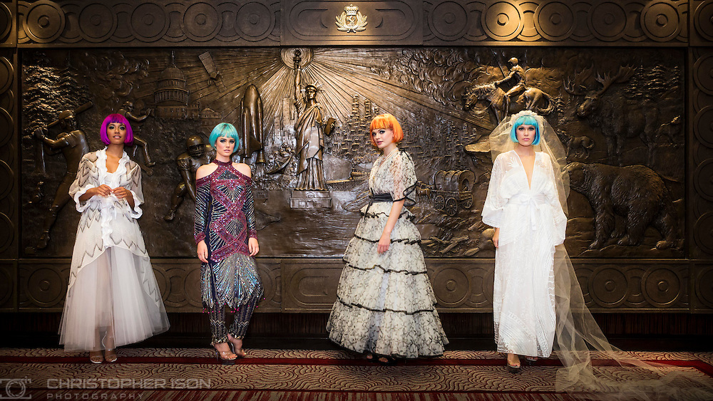 Storm models wearing Dame Zandra Rhodes after her catwalk show Transatlantic Dreams on board Cunard's Queen Mary 2 mid-Atlantic. The show is one of the unique events being held during Cunard's first Transatlantic Fashion Week. The voyage set sail from Southampton on the 1st September and will arrive in to New York City for the start of New York Fashion Week on the 8th.<br /> Picture date: Sunday September 4, 2016.<br /> Photograph by Christopher Ison &copy;<br /> 07544044177<br /> chris@christopherison.com<br /> www.christopherison.com