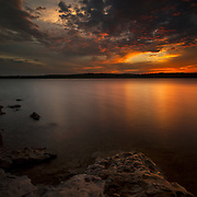 Sunset along the shore of Stockton Lake in Missouri on a late spring evening.