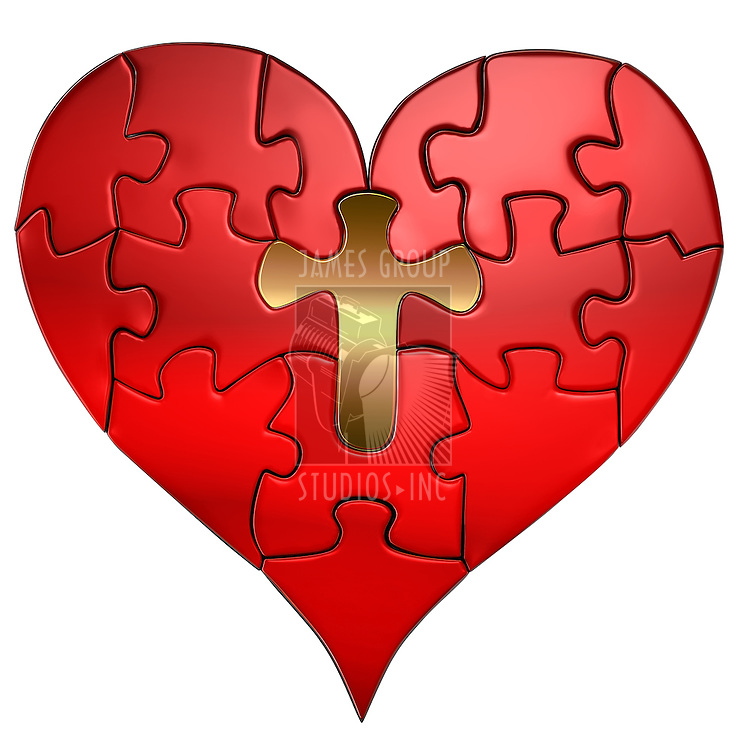 Puzzle of a Valentine heart with a gold cross as the center puzzle piece