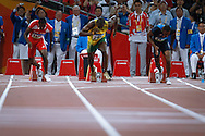 Beijing, China, August 16 of 2008:   2008 Olympic Games - The Jamaican Usain Bolt won the 100 m final with a new World Record, 9.69s, Richard Thompson from Trinida Tobago got the silver medal, Dix Walter was bronze. (Photo: Caio Guatelli)