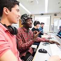 Students learn film editing in a Brandeis University media lab in Waltham, MA.