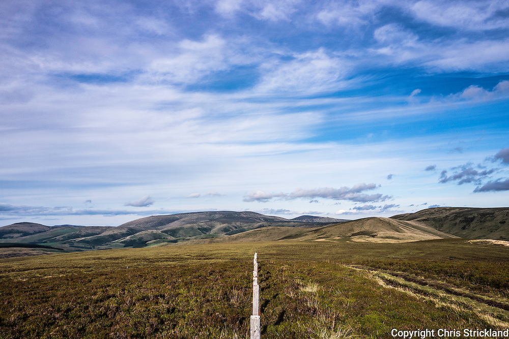 29th August 2016. Looking east across Anglo Scot Border fenceline on the Pennine Way from the Cheviot hill Mozie Law (552m).