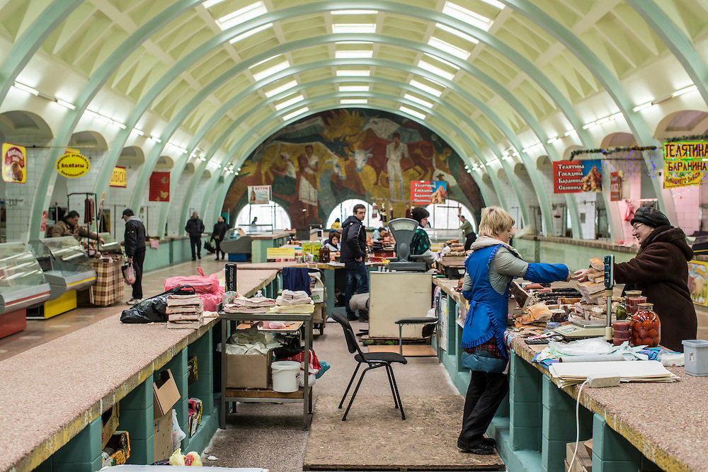 DONETSK, UKRAINE - FEBRUARY 1, 2015: The central market in Donetsk, Ukraine. Fighting in Ukraine has intensified over the last week, with rebels declaring the end of a September ceasefire. CREDIT: Brendan Hoffman for The New York Times