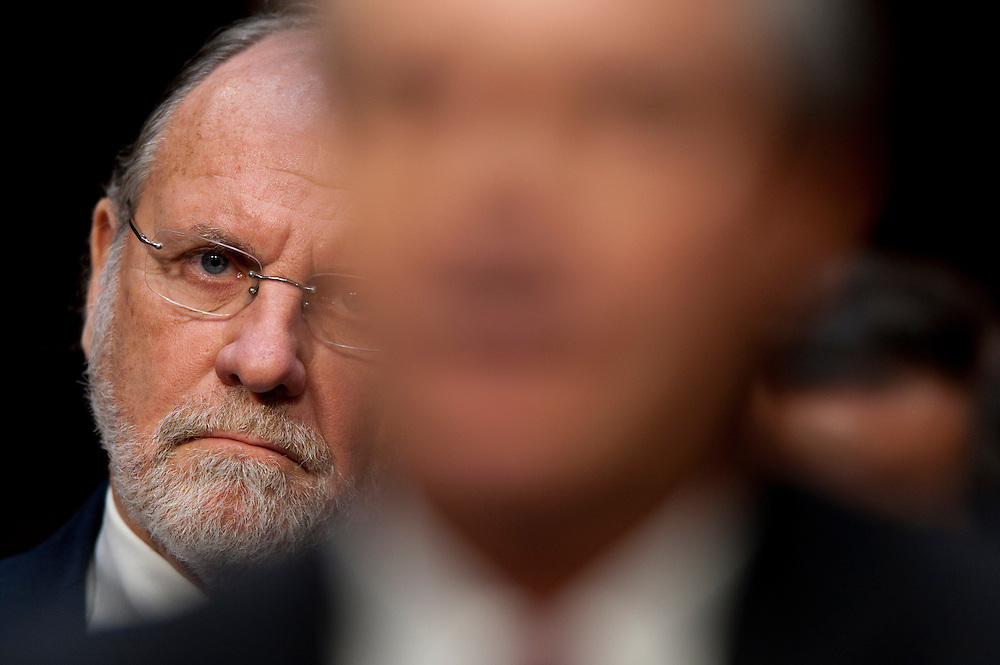 Former Gov. JON CORZINE, (D-NJ) and former chairman and CEO of MF Global looks on as people affected by the failure of MF Global testify before a Senate Agriculture, Nutrition and Forestry Committee hearing on the circumstances surrounding the bankruptcy of MF Global Holdings Ltd.