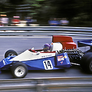 British driver Bob Evans handles his BRM during the training sessions of the 1975 Spanish Grand Prix