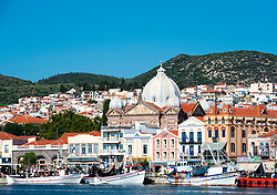 Church and Harbour in Mytilini town on Lesvos Island in Greece