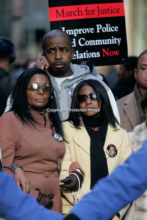 Nicole Paultre Bell walks  in a  silent march down Fifth Avenue  ''to shop for justice,'' in the police shooting incident that killed her fiancee Sean Bell and wounded two of his friends on his wedding day in New York, December 16, 2006. .Photo by Keith Bedford<br />