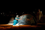 22.02.2012. London, UK. A brand new production of Giuseppe Verdi's awe-inspiring masterpiece, Aida, directed by Stephen Medcalf. The drama unfolds in the very heart of the Royal Albert Hall, drawing the audience in from all sides. With a combined cast of over 120 soloists, chorus, actors and dancers, and with Aida played by Indra Thomas, and Radames by Marc Heller. Pictures shows Indra Thomas as Aida. Photo credit : Tony Nandi