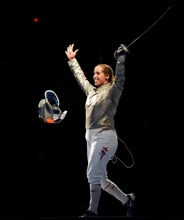 2008 OLYMPIC GAMES  - 080908 -  Mariel Zagunis celebrates after winning the gold medal in women's sabre, defeating countrywoman Sada Jacobson in the final match. Zagunis claimed the first gold medal   by the United States of the 2008 Olympic Games.