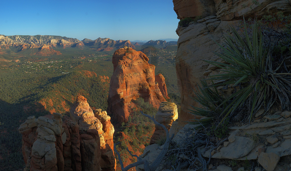 Looking down from Brins Ridge onto the Cibola Mittens with Sedona in the background.