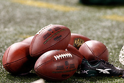 Sept 3, 2009; East Rutherford, NJ, USA;  A pile of footballs lie on the sidelines during the second half at Giants Stadium.  The Jets defeated the Eagles 38-27.