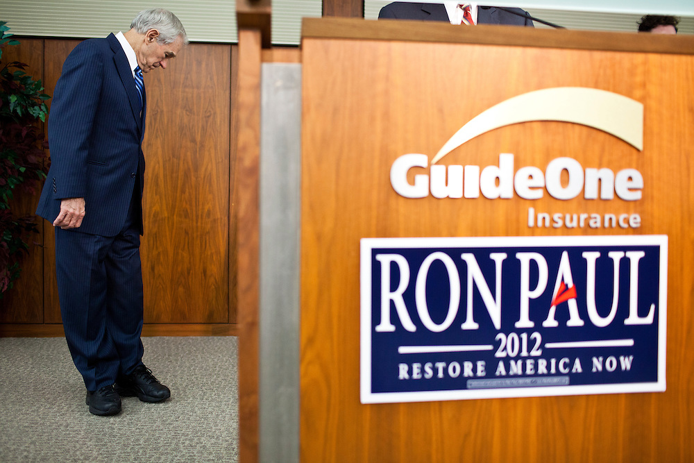Republican presidential candidate Ron Paul speaks to employees of GuideOne Insurance on Wednesday, December 28, 2011 in West Des Moines, IA.